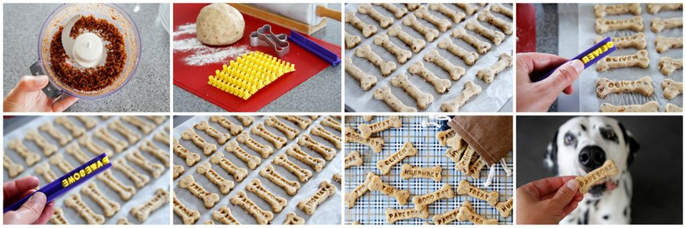 Making DIY custom stamped homemade peanut butter bacon dog treats