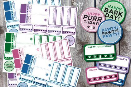 Free printable pet birthday gift or treat tags and labels (dog and cat)