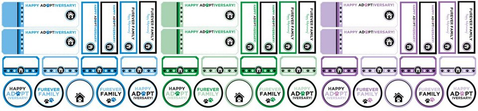 Free printable pet adoption anniversary gotcha day tags and labels