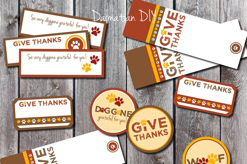 Free printable Thanksgiving dog treat labels