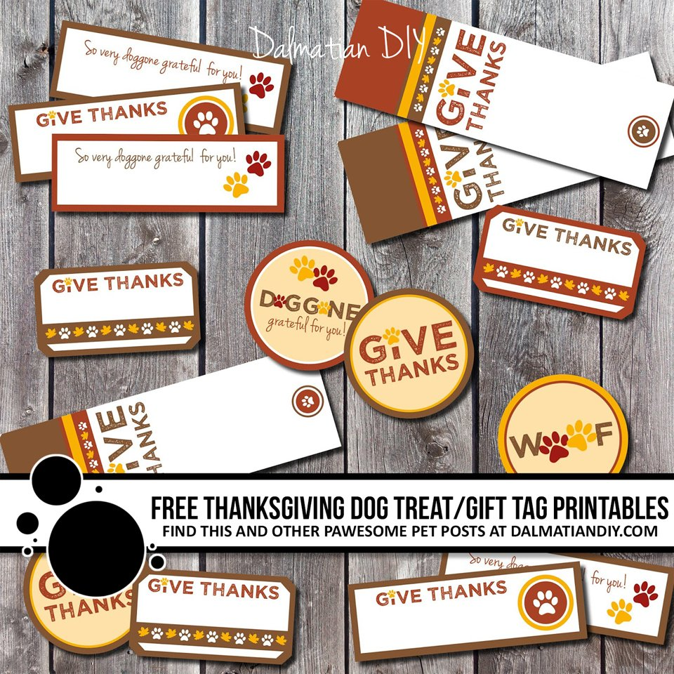 Free Thanksgiving dog treat tags and labels