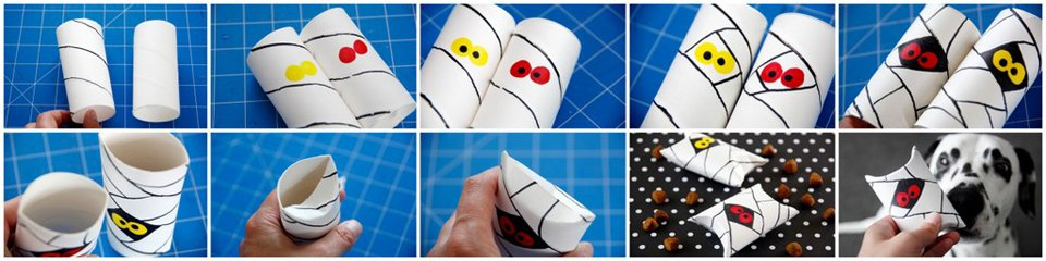 Making mummy pillow box treat holders using recycled cardboard tubes