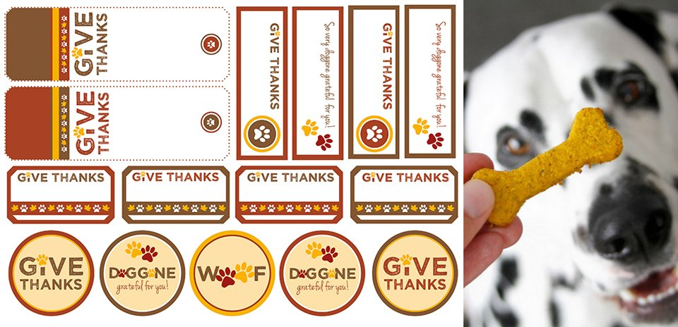 Free printable Thanksgiving dog treat tags and labels