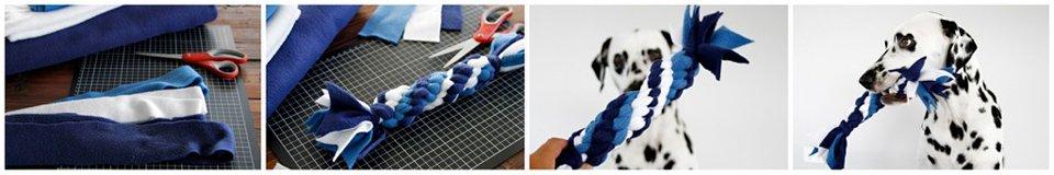 DIY blue and white Hanukkah dog tug toy