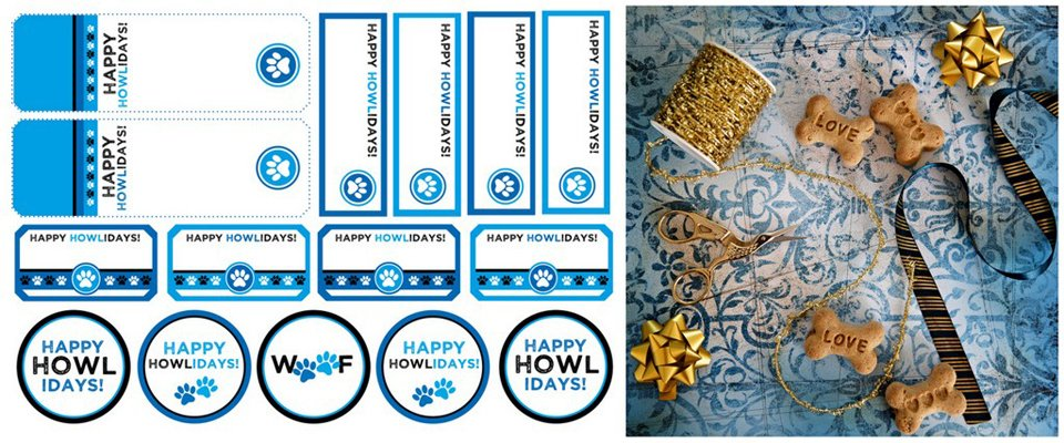Free festive blue printable holiday (howliday) dog treat tags and labels