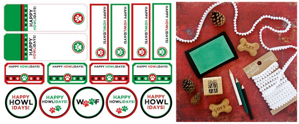 Free red and green Christmas printable holiday (howliday) dog treat tags and labels