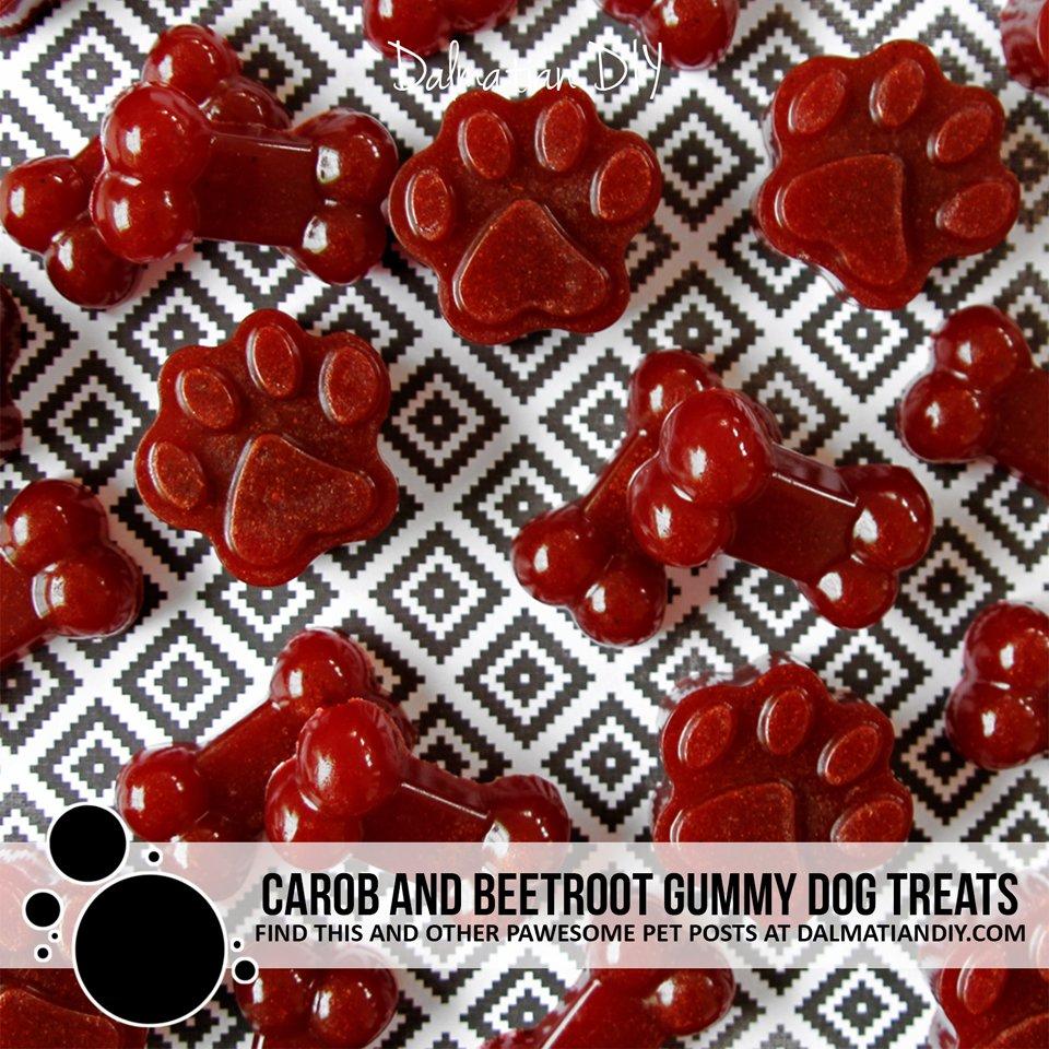 Carob and beetroot gelatin gummy dog treat recipe