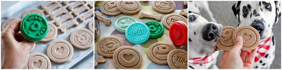 Decorating homemade Valentine dog treats with cookie stamps