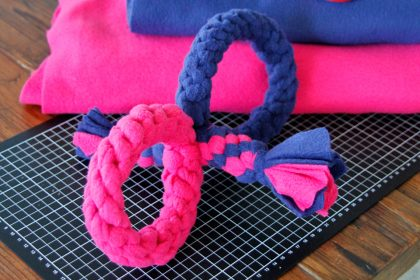 DIY double loop and stick handle dog tug toy