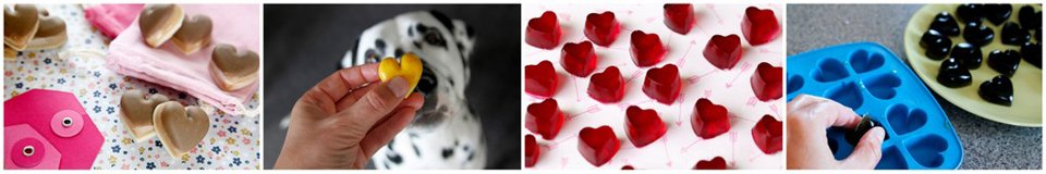 Making heart shaped moulded dog treats for Valentine's Day