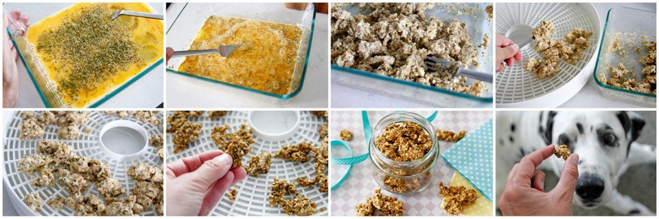 Dehydrating scrambled eggs for dogs
