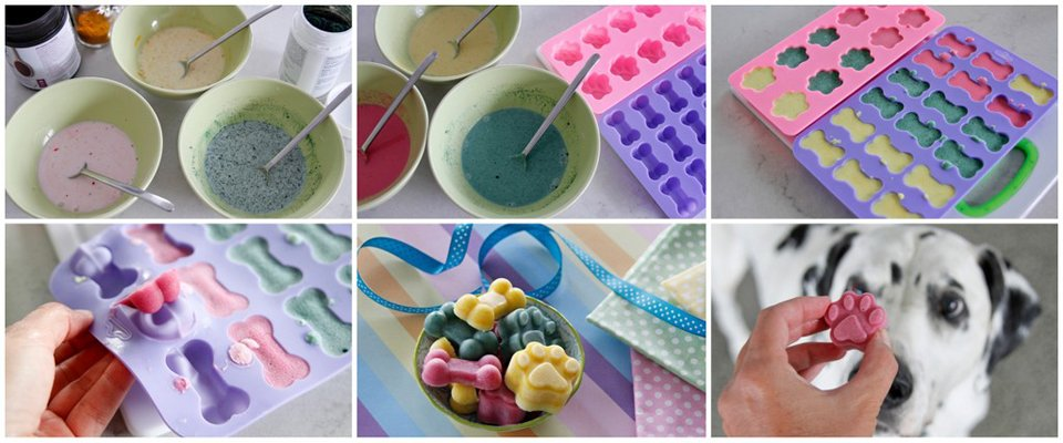 Making naturally coloured Easter dog treats