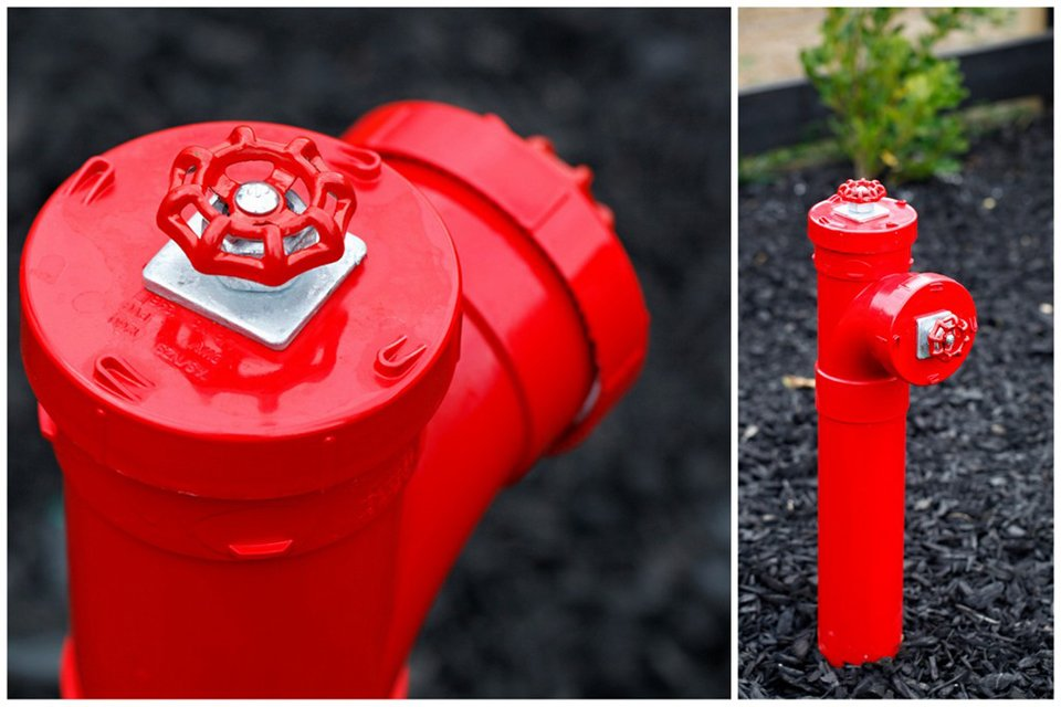 DIY fake fire hydrant dog pee post for the garden