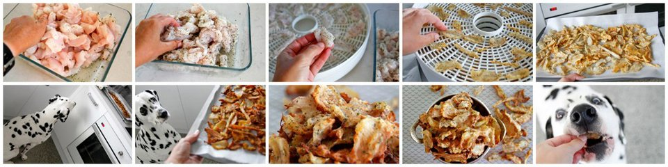 Making DIY dehydrated fish jerky dog treats with optional marinade