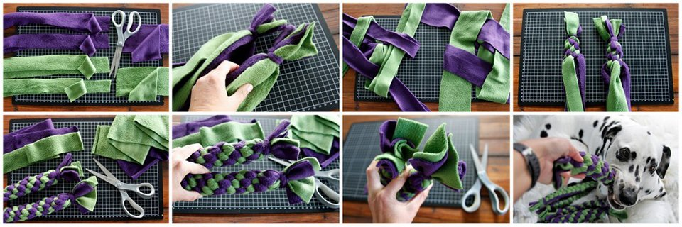 Using wide fleece strips and doubled fleece strips to make thicker dog tug toys