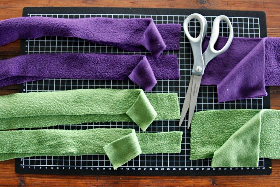 Different sized fleece strips for weaving dog tug toys