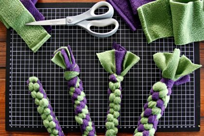 End knot options for DIY fleece dog tug toys