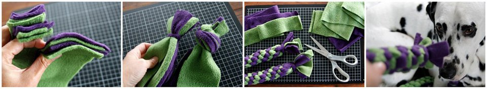 Single strand vs full overhand knot for finishing the end of DIY fleece tug toy