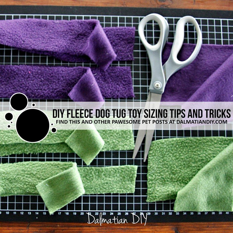 DIY fleece dog tug toy sizes and strips
