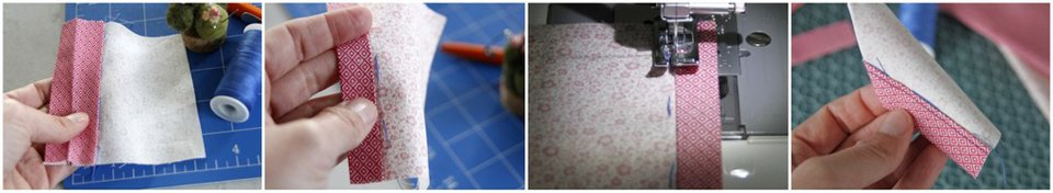Example showing how a basting stitch line can be used as a guide when sewing binding tape