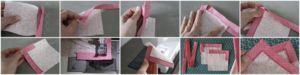 Step-by-step sewing double fold binding and turning a corner as a single step sandwich