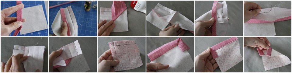Step-by-step sewing double fold binding and turning a corner