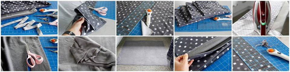Sewing a double layered bound edge dog blanket made from upcycled bed sheets