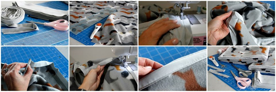 Sewing a fleece blanket with double fold binding trim