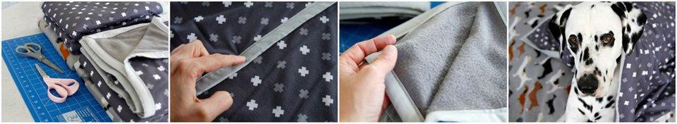 DIY microflannel and microfleece layered blankets with microfiber binding