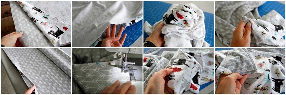 Sewing a reversible flannelette blanket