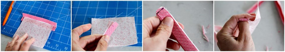 Example showing how to finish exposed edges of binding tape