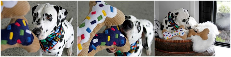 Dalmatian dog playing with homemade stuffed birthday bone dog toys