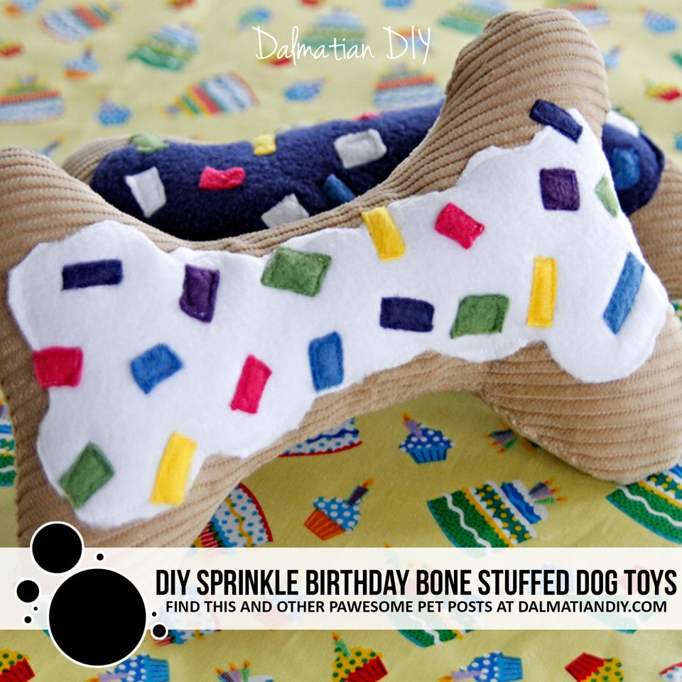 DIY sprinkle cake birthday bone stuffed dog toys