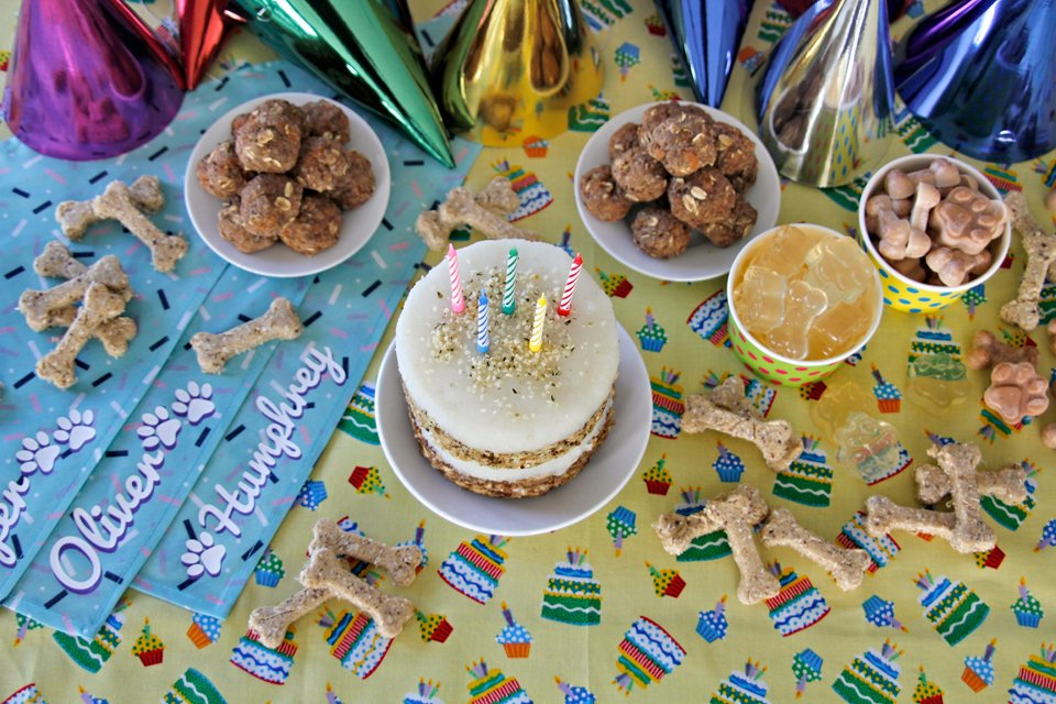 DIY dog birthday party bandanas, treats, and cake