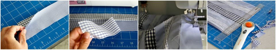 Piecing together old dress shirt fabric to make a pillow case
