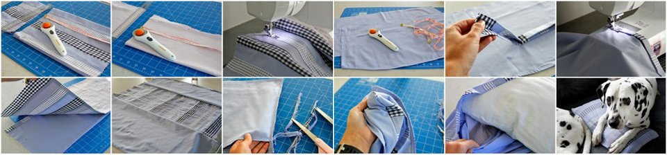 Making a throw pillow cover using materials from old work dress shirts