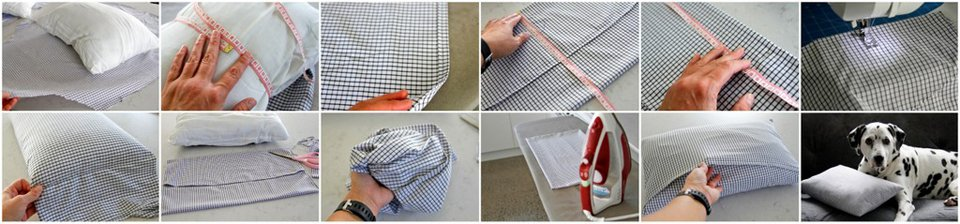Making a throw pillow cover by recycling fabric from an old shirt