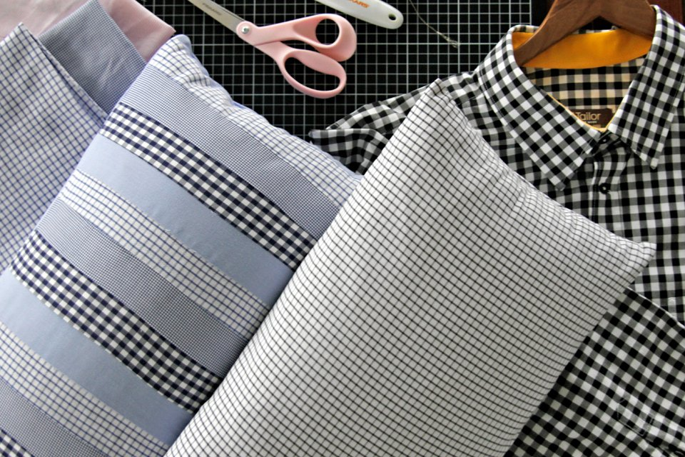 Making throw pillow cases with recycled dress shirt materials