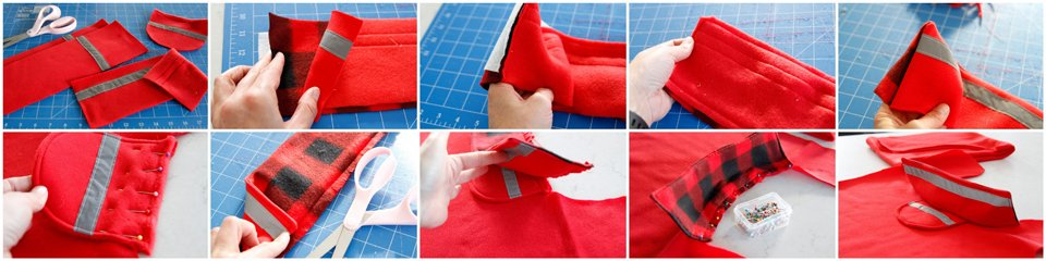 Sewing components for a DIY fleece dog coat