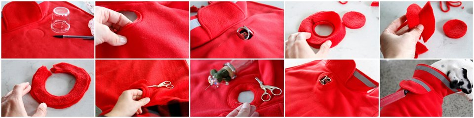 Creating a bound reinforced leash access hole in the dog jacket