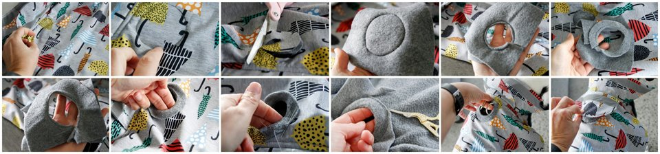 Making a grommet leash access hole in a fleece lined dog raincoat