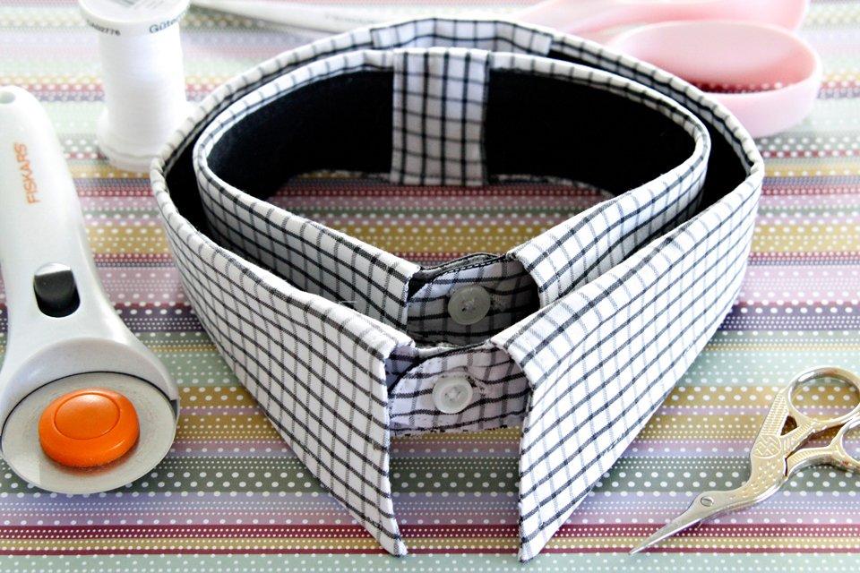 DIY recycled dress shirt dog collars
