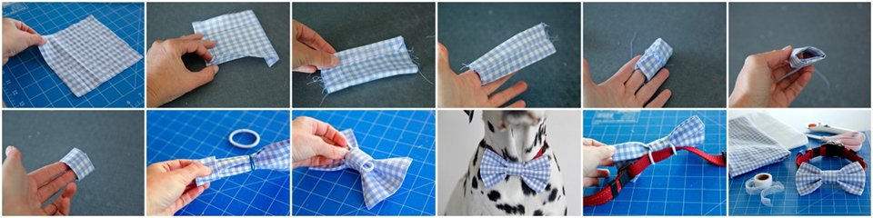 DIY no sew dog collar bow tie sleeve and elastic attachment