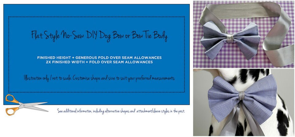 No sew flat DIY dog bow or bow tie