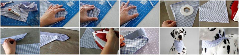 DIY no-sew dog bandana with neck binding trim and ties