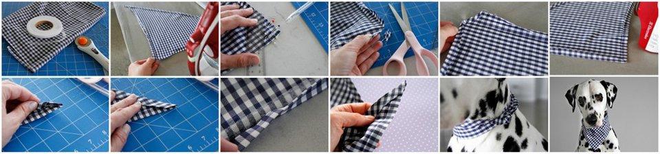 DIY no-sew dog bandana with double fold hems