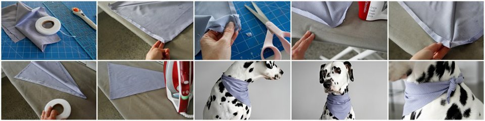 DIY no-sew fold-over reversible dog bandana with concealed edges