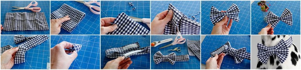 Recycled French Cuff DIY Dress Shirt Dog Bow Ties