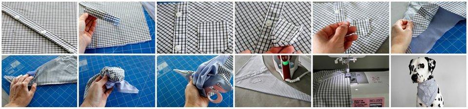 Making a miniature dress shirt dog bandada from recycled materials