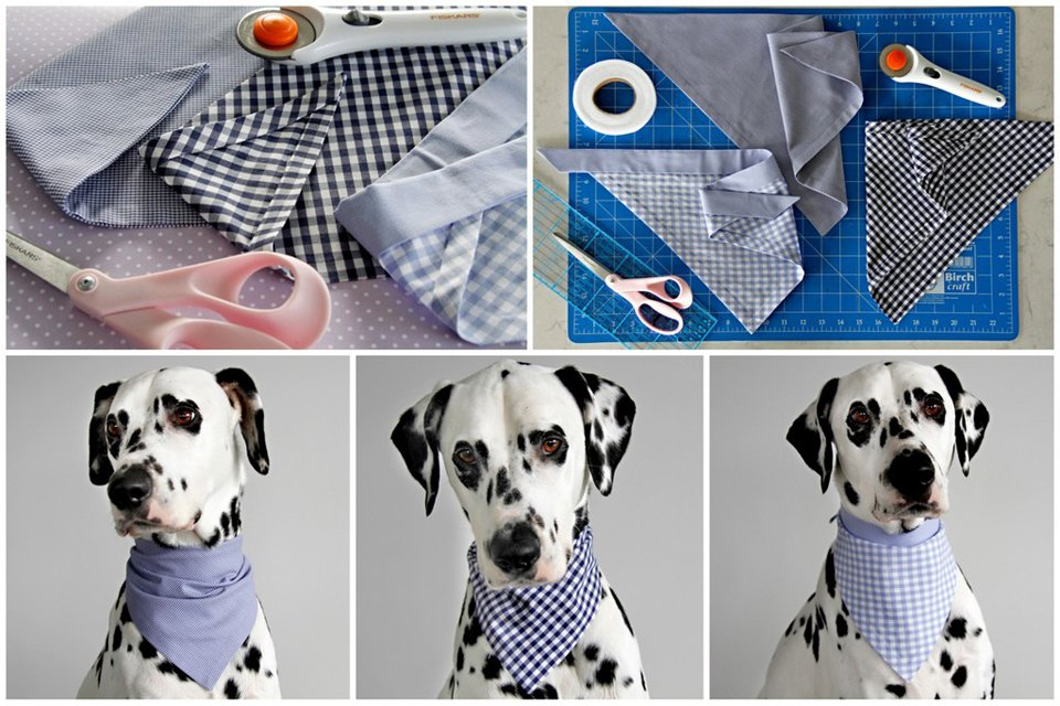 DIY no-sew dog bandanas with hem tape edges